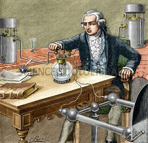 ^BLavoisier making water.^b Historical artwork of the French chemist Antoine Laurent Lavoisier (1743- 1794) conducting his 1783 experiment on water. The two cylinders (grey, right and left) hold oxygen and hydrogen. The static electricity generator at lower right supplies the energy for producing the sparks in the spherical glass reaction vessel (the flask at centre). The oxygen and hydrogen gases are piped into the flask and the spark causes the hydrogen to burn in the oxygen (combustion). The product of the reaction is water, proving water to be a ^Icompound^i of hydrogen and oxygen. Lavoisier is considered the founder of modern chemistry. From ^IPhysique^i ^IPopulaire^i (E. Desbeaux, 1891).